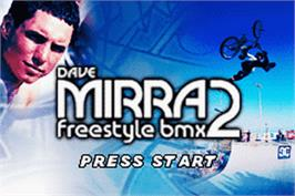 Title screen of Dave Mirra Freestyle BMX 2 on the Nintendo Game Boy Advance.