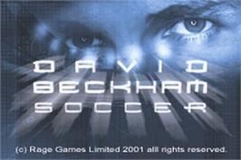 Title screen of David Beckham Soccer on the Nintendo Game Boy Advance.