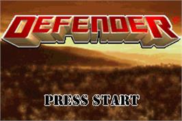 Title screen of Defender on the Nintendo Game Boy Advance.