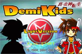 Title screen of DemiKids: Light Version on the Nintendo Game Boy Advance.