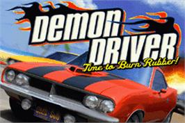 Title screen of Demon Driver: Time to Burn Rubber on the Nintendo Game Boy Advance.