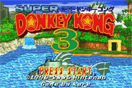 Title screen of Donkey Kong 3 on the Nintendo Game Boy Advance.