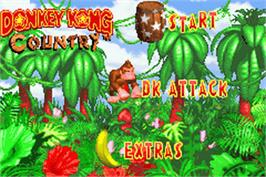 Title screen of Donkey Kong Country on the Nintendo Game Boy Advance.