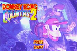 Title screen of Donkey Kong Country 2: Diddy's Kong Quest on the Nintendo Game Boy Advance.