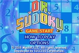 Title screen of Dr. Sudoku on the Nintendo Game Boy Advance.