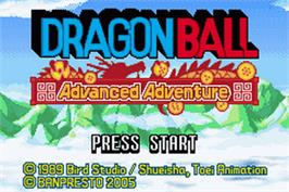 Title screen of Dragonball: Advanced Adventure on the Nintendo Game Boy Advance.