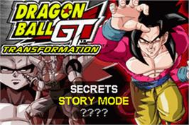 Title screen of Dragonball GT: Transformation on the Nintendo Game Boy Advance.