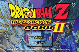 Title screen of Dragonball Z: Legacy of Goku 2 on the Nintendo Game Boy Advance.
