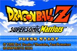Title screen of Dragonball Z: Supersonic Warriors on the Nintendo Game Boy Advance.