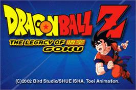 Title screen of Dragonball Z: The Legacy of Goku on the Nintendo Game Boy Advance.