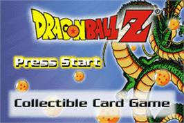 Title screen of Dragonball Z Collectible Card Game on the Nintendo Game Boy Advance.