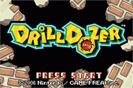 Title screen of Drill Dozer on the Nintendo Game Boy Advance.