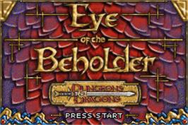 Title screen of Dungeons & Dragons: Eye of the Beholder on the Nintendo Game Boy Advance.