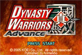 Title screen of Dynasty Warriors Advance on the Nintendo Game Boy Advance.