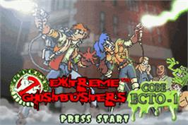 Title screen of Extreme Ghostbusters: Code Ecto-1 on the Nintendo Game Boy Advance.