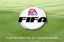 Title screen of FIFA 2003 on the Nintendo Game Boy Advance.