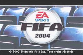 Title screen of FIFA 2004 on the Nintendo Game Boy Advance.
