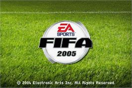 Title screen of FIFA 2005 on the Nintendo Game Boy Advance.