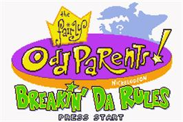Title screen of Fairly OddParents: Breakin' Da Rules on the Nintendo Game Boy Advance.