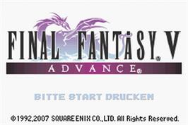 Title screen of Final Fantasy 5 on the Nintendo Game Boy Advance.