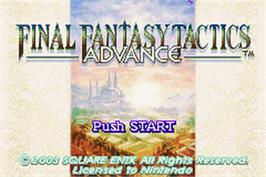 Title screen of Final Fantasy Tactics Advance on the Nintendo Game Boy Advance.