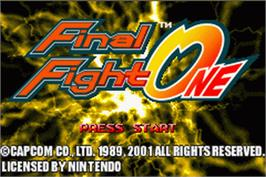 Title screen of Final Fight on the Nintendo Game Boy Advance.