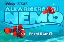 Title screen of Finding Nemo on the Nintendo Game Boy Advance.