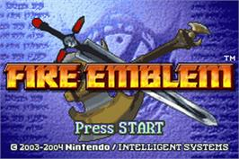 Title screen of Fire Emblem: The Sacred Stones on the Nintendo Game Boy Advance.