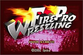 Title screen of Fire Pro Wrestling on the Nintendo Game Boy Advance.
