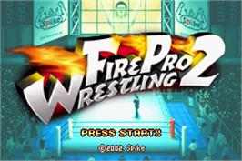 Title screen of Fire Pro Wrestling 2 on the Nintendo Game Boy Advance.