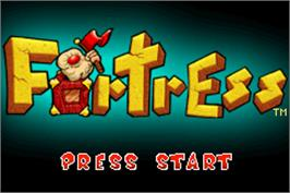 Title screen of Fortress on the Nintendo Game Boy Advance.