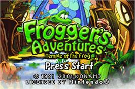 Title screen of Frogger's Adventures: Temple of the Frog on the Nintendo Game Boy Advance.