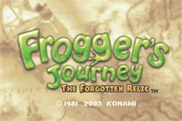 Title screen of Frogger's Journey: The Forgotten Relic on the Nintendo Game Boy Advance.