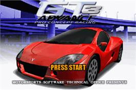 Title screen of GT Advance 3: Pro Concept Racing on the Nintendo Game Boy Advance.