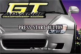 Title screen of GT Advance Championship Racing on the Nintendo Game Boy Advance.