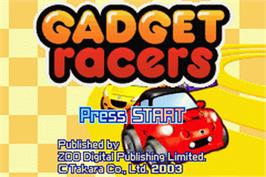 Title screen of Gadget Racers on the Nintendo Game Boy Advance.