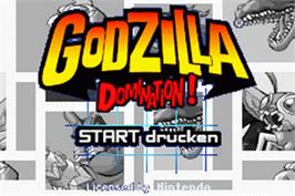 Title screen of Godzilla: Domination on the Nintendo Game Boy Advance.