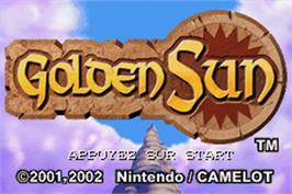 Title screen of Golden Sun on the Nintendo Game Boy Advance.
