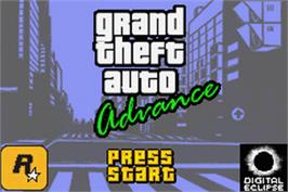 Title screen of Grand Theft Auto Advance on the Nintendo Game Boy Advance.
