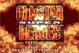 Title screen of Gunstar Super Heroes on the Nintendo Game Boy Advance.