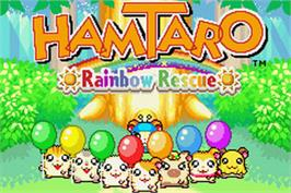 Title screen of Hamtaro Rainbow Rescue on the Nintendo Game Boy Advance.
