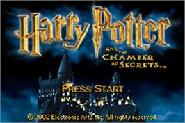Title screen of Harry Potter and the Chamber of Secrets on the Nintendo Game Boy Advance.