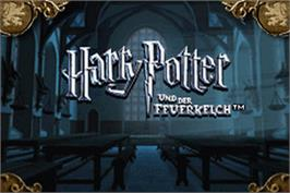 Title screen of Harry Potter and the Goblet of Fire on the Nintendo Game Boy Advance.