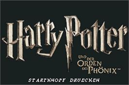 Title screen of Harry Potter and the Order of the Phoenix on the Nintendo Game Boy Advance.