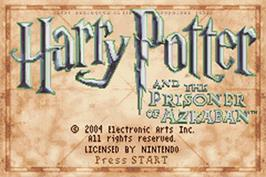 Title screen of Harry Potter and the Prisoner of Azkaban on the Nintendo Game Boy Advance.