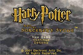 Title screen of Harry Potter and the Sorcerer's Stone on the Nintendo Game Boy Advance.