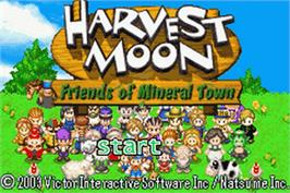 Title screen of Harvest Moon: Friends of Mineral Town on the Nintendo Game Boy Advance.