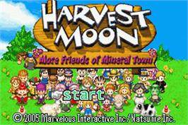 Title screen of Harvest Moon: More Friends of Mineral Town on the Nintendo Game Boy Advance.