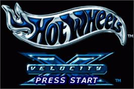 Title screen of Hot Wheels: Velocity X on the Nintendo Game Boy Advance.