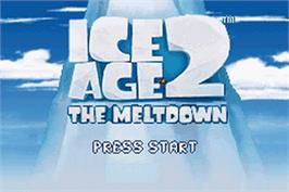 Title screen of Ice Age 2: The Meltdown on the Nintendo Game Boy Advance.